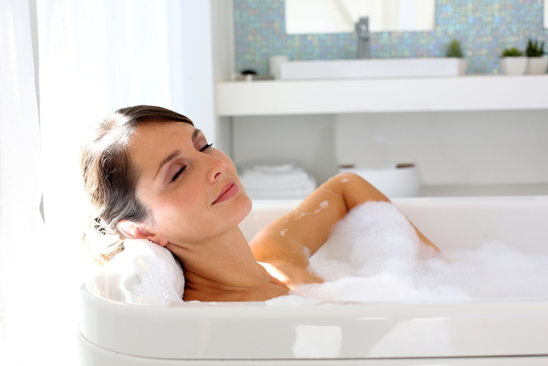 Adding Epsom salts to a bath can help ease sore muscles.